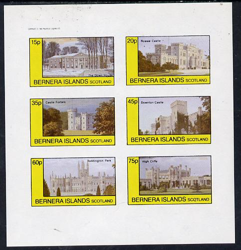Bernera 1982 Stately Homes #3 imperf set of 6 values (15p to 75p) unmounted mint