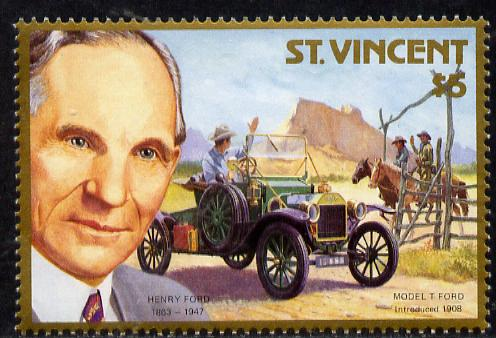 St Vincent 1987 Centenary of Motoring the unissued $5 value showing Henry Ford facing right see note after MS 1089*