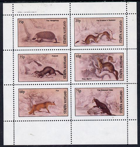 Staffa 1982 Animals (Hedgehog, Fox, Otter etc) perf set of 6 values (15p to 75p) unmounted mint