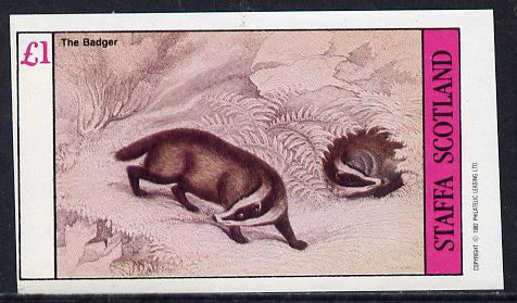 Staffa 1982 Animals (Badger) imperf souvenir sheet (�1 value) unmounted mint