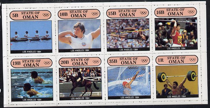Oman 1984 Los Angeles Olympic Games complete perf  set of 8 values (5b to 1R) unmounted mint