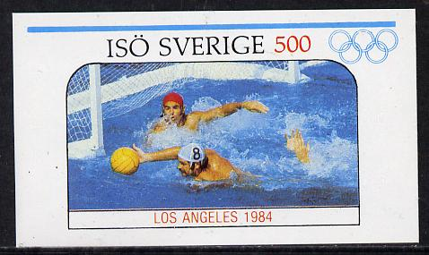 Iso - Sweden 1984 Los Angeles Olympic Games (Water Polo) imperf souvenir sheet (500 value) unmounted mint