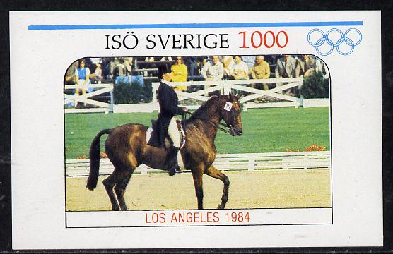 Iso - Sweden 1984 Los Angeles Olympic Games (Dressage) imperf deluxe sheet (1000 value) unmounted mint