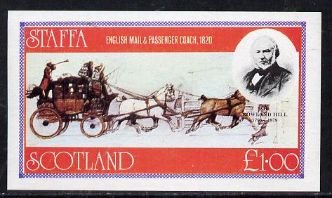 Staffa 1979 Rowland Hill (Mail Coach) imperf souvenir sheet (�1 value) unmounted mint