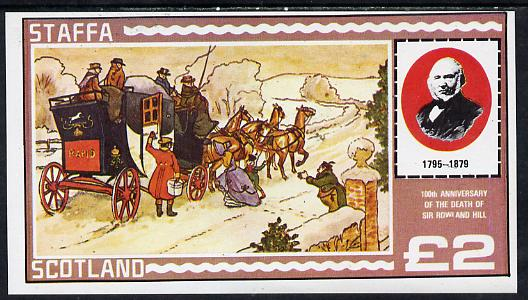Staffa 1979 Rowland Hill (Mail Coach) imperf deluxe sheet (�2 value) unmounted mint