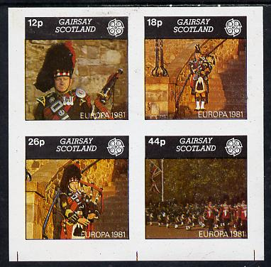 Gairsay 1981 EUROPA (Scottish Pipers) imperf  set of 4 values (12p to 44p) unmounted mint