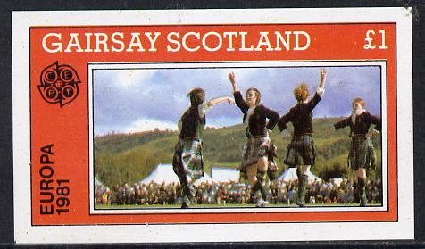 Gairsay 1981 EUROPA (Scottish Dancers) imperf souvenir sheet (�1 value) unmounted mint
