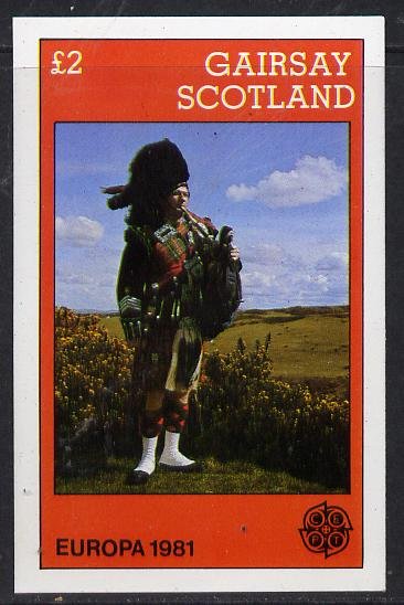 Gairsay 1981 EUROPA (Scottish Piper) imperf deluxe sheet (�2 value) unmounted mint