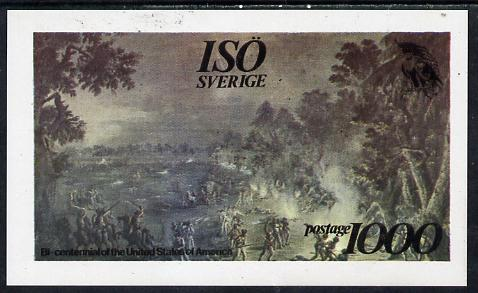 Iso - Sweden 1976 USA Bicentenary (Painting of Battle) imperf deluxe sheet (1000 value) unmounted mint