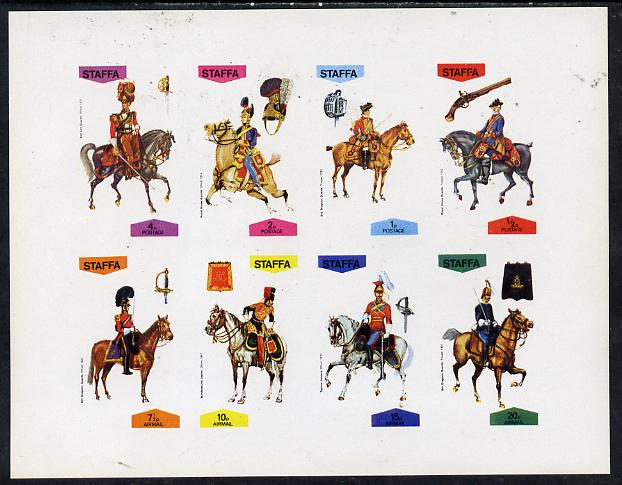 Staffa 1974 Military Uniforms (On Horse-back) imperf  set of 8 values (0.5p to 20p) unmounted mint