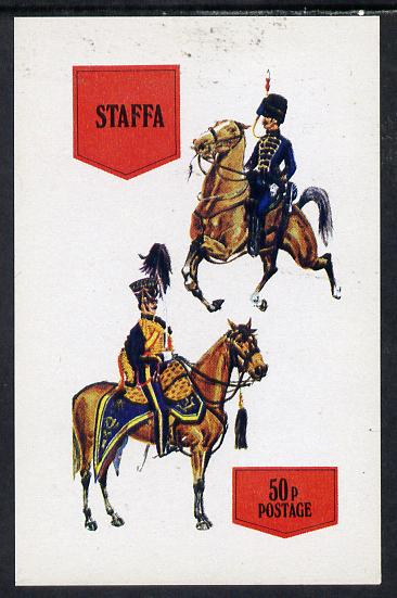 Staffa 1974 Military Uniforms (On Horse-back) imperf souvenir sheet (50p value) unmounted mint
