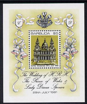Barbuda 1981 Royal Wedding $5 m/sheet unmounted mint, SG MS 571, stamps on royalty, stamps on diana, stamps on charles, stamps on