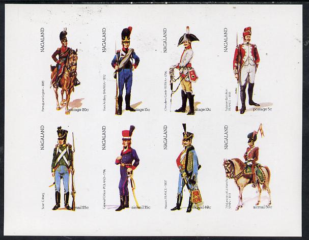 Nagaland 1974 Military Uniforms imperf  set of 8 values (5c to 50c) unmounted mint