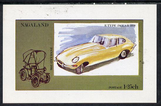 Nagaland 1972 Cars #1 (E-Type Jaguar) imperf souvenir sheet (1.25ch value) unmounted mint