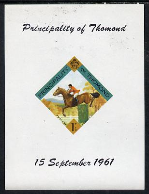 Thomond 1961 Show jumping 1.5d (Diamond-shaped) imperf m/sheet unmounted mint
