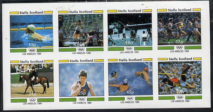 Staffa 1984 Los Angeles Olympic Games imperf  set of 8 values (10p to 50p) unmounted mint