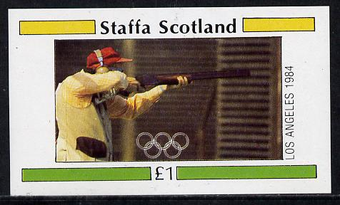 Staffa 1984 Los Angeles Olympic Games (Shooting) imperf souvenir sheet (�1 value) unmounted mint