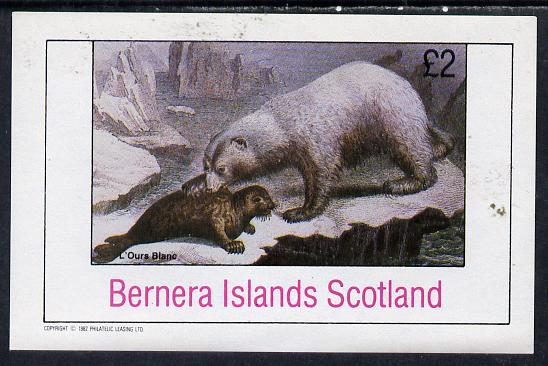 Bernera 1982 Animals (Bear attacking Seal) imperf deluxe sheet (�2 value) unmounted mint