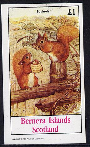 Bernera 1982 Squirrels #1 imperf souvenir sheet (�1 value) unmounted mint