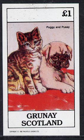 Grunay 1982 Children's Animals (Puggy & Pussy) imperf souvenir sheet (�1 value)