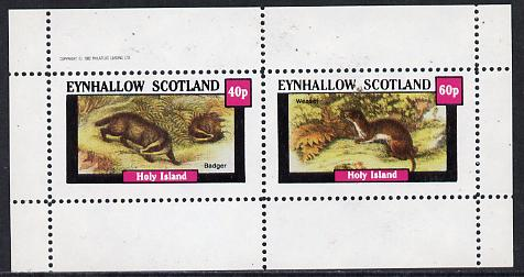 Eynhallow 1982 Animals #05 (Badger & Weasel) perf  set of 2 values (40p & 60p) unmounted mint