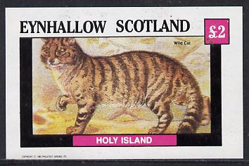 Eynhallow 1982 Animals #05 (Wild Cat) imperf deluxe sheet (�2 value) unmounted mint