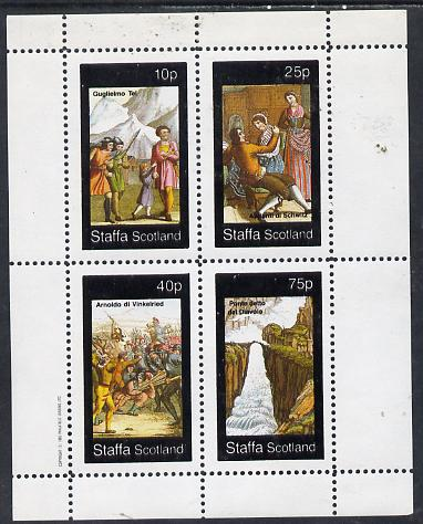Staffa 1982 Medieval Pictures (incl Bridge over Waterfall & Battle Scene) perf  set of 4 (10p to 75p) unmounted mint