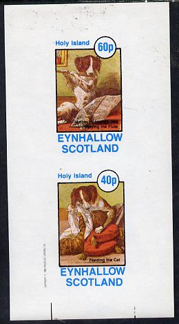 Eynhallow 1982 Pets From fairy Tales (Dog Feeding the Cat) imperf  set of 2 values (40p & 60p) unmounted mint