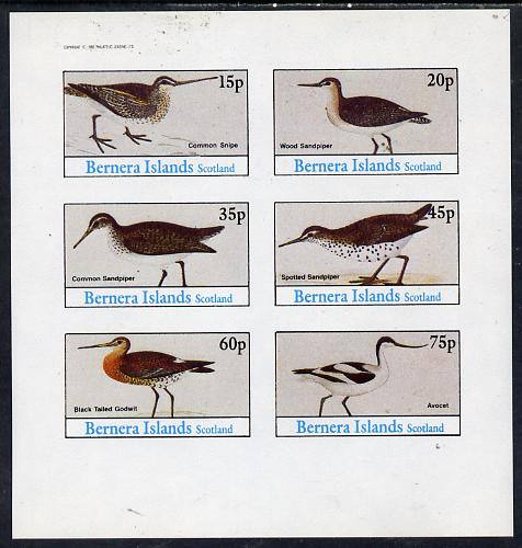Bernera 1982 Waders (Snipe, Sandpipers, Avocet & Godwit) imperf set of 6 values (15p to 75p) unmounted mint