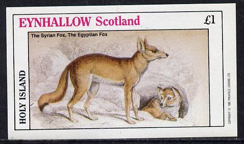 Eynhallow 1982 Animals #07 (Fox) imperf souvenir sheet (�1 value) unmounted mint