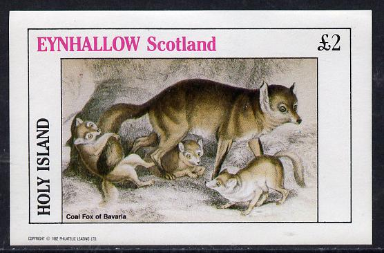 Eynhallow 1982 Animals #07 (Coal Fox) imperf deluxe sheet (�2 value) unmounted mint