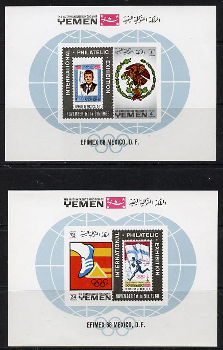 Yemen - Royalist 1968 Efimex Stamp Exhibition set of two m/sheets unmounted mint (Mi BL 144-145)