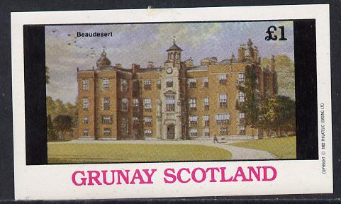 Grunay 1982 Stately Homes (Beaudesert) imperf souvenir sheet (�1 value) unmounted mint