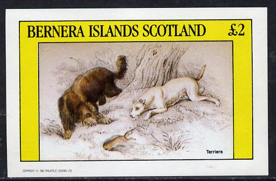 Bernera 1982 Dogs (Terriers) imperf deluxe sheet (�2 value) unmounted mint