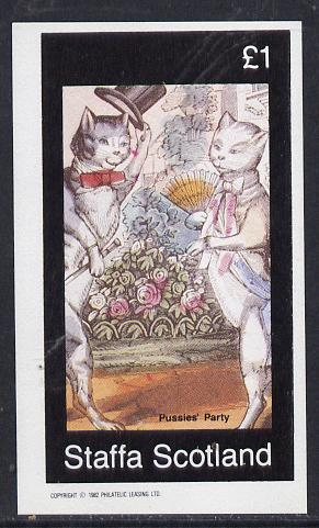 Staffa 1982 Cats From fairy Tales (Pussies' Party) imperf souvenir sheet (�1 value) unmounted mint