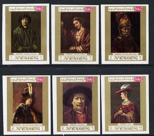 Yemen - Royalist 1969 Paintings by Rembrandt imperf set of 6 unmounted mint (Mi 710-15B)