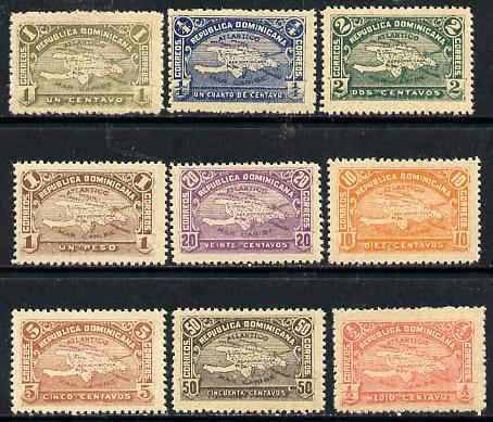 Dominican Republic 1900 Map of Hispaniola complete set of 9 Forgeries unmounted mint