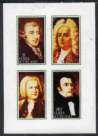 Staffa 1980 Composers (Haydn, Handel, Schubert & Bach) imperf set of 4 values (8p to 80p) unmounted mint