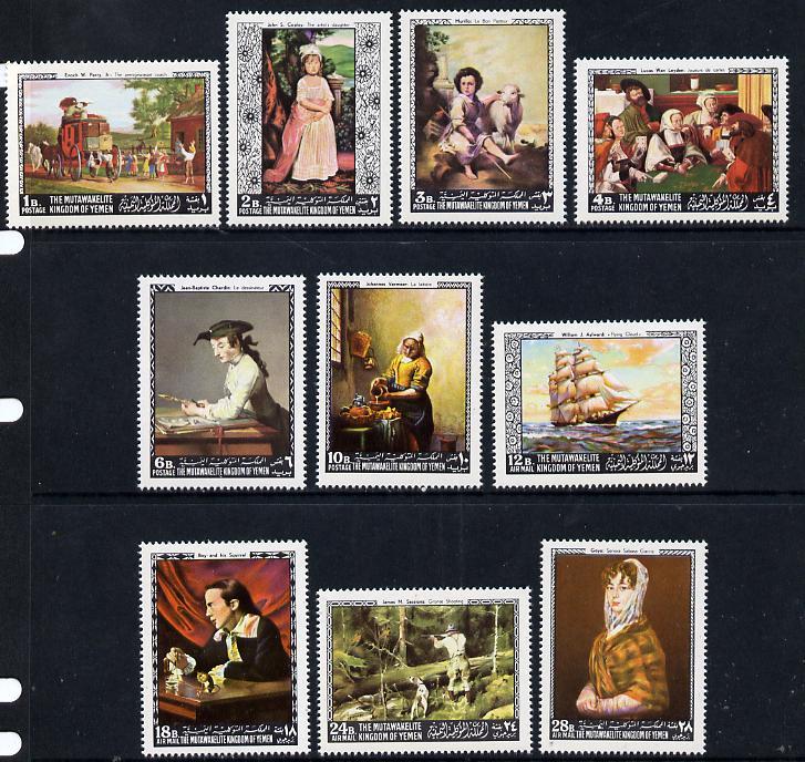 Yemen - Royalist 1968 Paintings (American & European) set of 10 unmounted mint (Mi 557-66A)