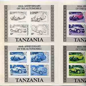 Tanzania 1986 Centenary of Motoring set of 4 imperf progressive proofs of m/sheet plus completed design all mounted in special printer's presentation wallet (as SG MS 460)