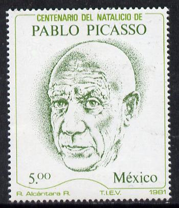 Mexico 1981 Birth Centenary of Pablo Picasso (Artist) unmounted mint SG 1608*