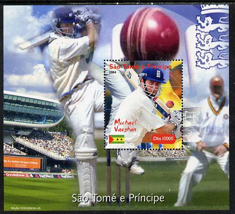 St Thomas & Prince Islands 2004 Cricket - Michael Vaughan perf souvenir sheet unmounted mint. Note this item is privately produced and is offered purely on its thematic appeal
