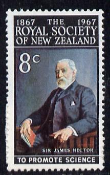 New Zealand 1967 Centenary of Royal Society 8c (Sir James Hector) unmounted mintunmounted mint, SG 882*
