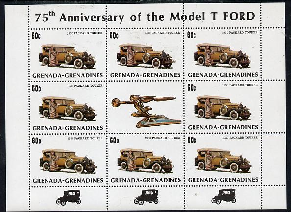 Grenada - Grenadines 1983 75th Anniversary of Model 'T' Ford 60c (1930 Packard) in sheetlet of 8 plus label unmounted mint, SG 555