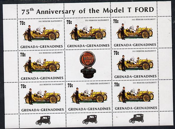 Grenada - Grenadines 1983 75th Anniversary of Model 'T' Ford 70c (1913 Mercer) in sheetlet of 8 plus label unmounted mint, SG 556