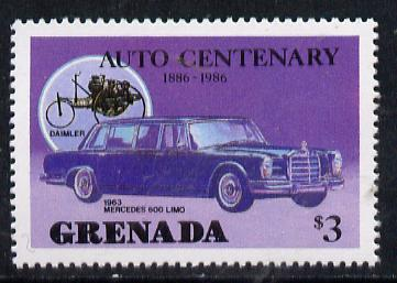 Grenada 1986 Centenary of Motoring $3 (1963 Mercedes 600 Limo) unmounted mint SG 1563*