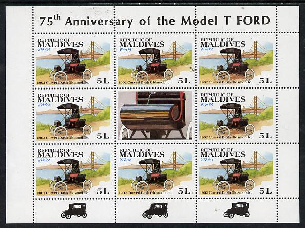 Maldive Islands 1983 Classic Motor Cars 5L (1902 Oldsmobile) in sheetlet of 8 plus label unmounted mint, SG 997
