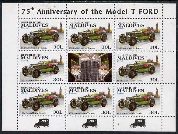 Maldive Islands 1983 Classic Motor Cars 30L (1932 Aston Martin) in sheetlet of 8 plus label unmounted mint, SG 998