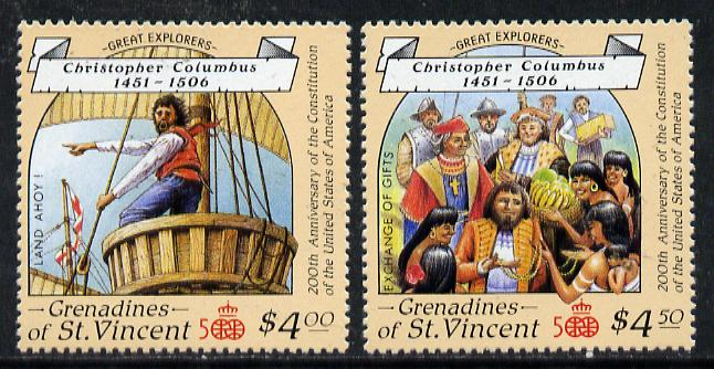 St Vincent - Grenadines 1988 Columbus $4 & $4.50 from Explorers set of 8 unmounted mint SG 570-71.