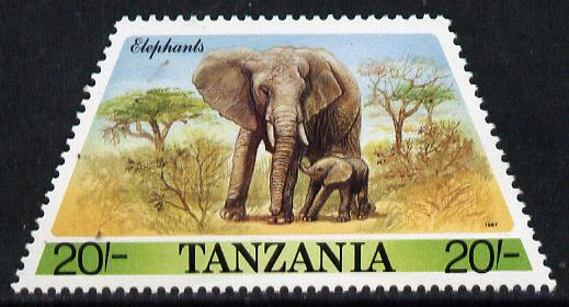 Tanzania 1988 Elephant 20s (from Prehistoric & Modern Animals set of 8) SG 556 (tete-beche horiz pairs available pro rata) unmounted mint